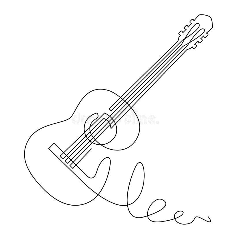 Dibujo lineal continuo del vector de la guitarra acústica Instrumento musical para la decoración, diseño, festival de jazz de la  libre illustration