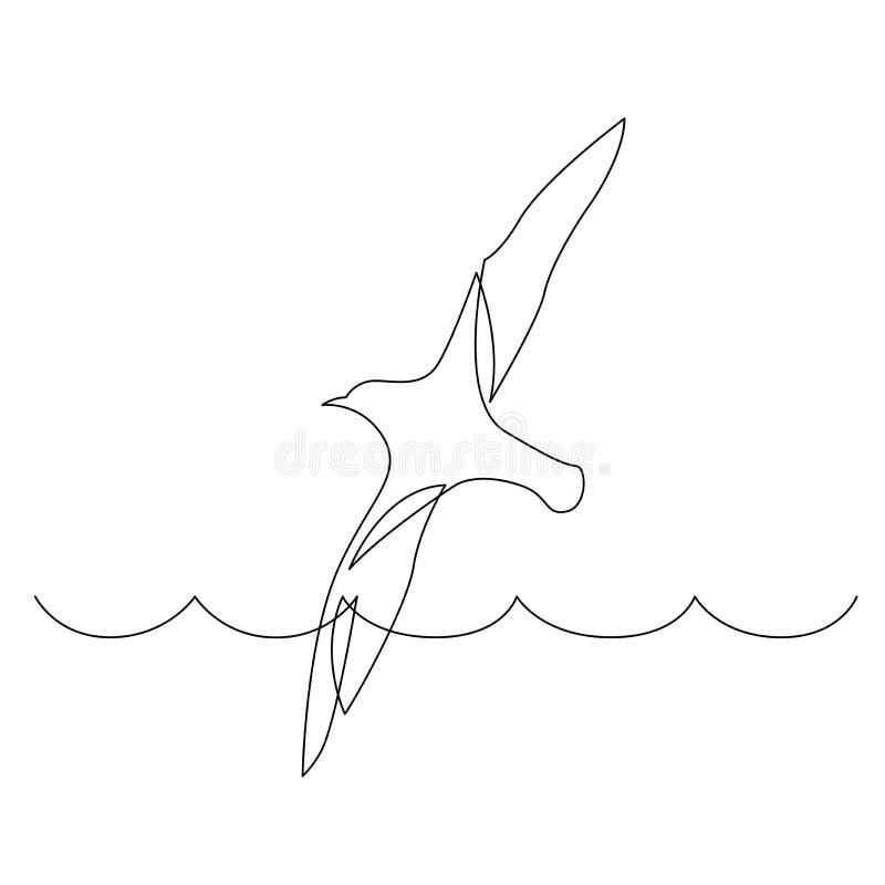 Dibujo lineal continuo del vuelo del pájaro de mar sobre olas oceánicas ilustración del vector
