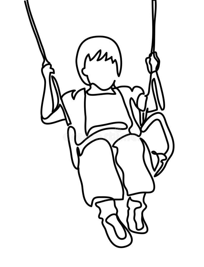 Dibujo lineal continuo Muchacha que balancea en el oscilación Ilustración del vector Gente en el parque bosquejo libre illustration
