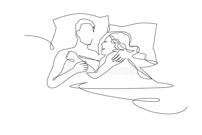 Dibujo lineal continuo Pares hermosos en actitud el dormir en las almohadas Ilustraci?n del vector libre illustration