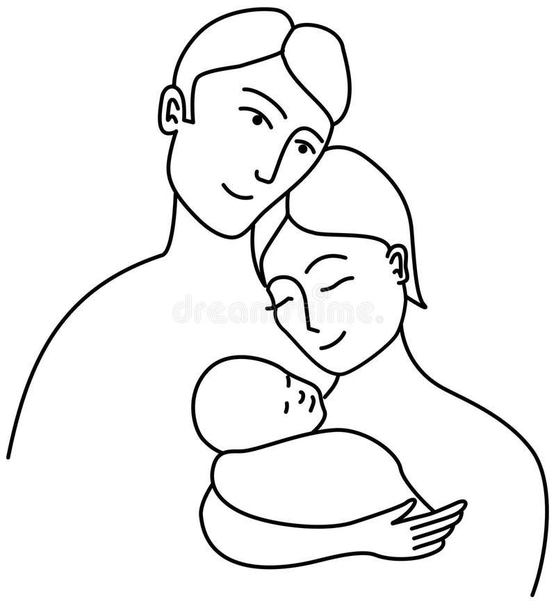 Dibujo lineal de familia ilustración del vector