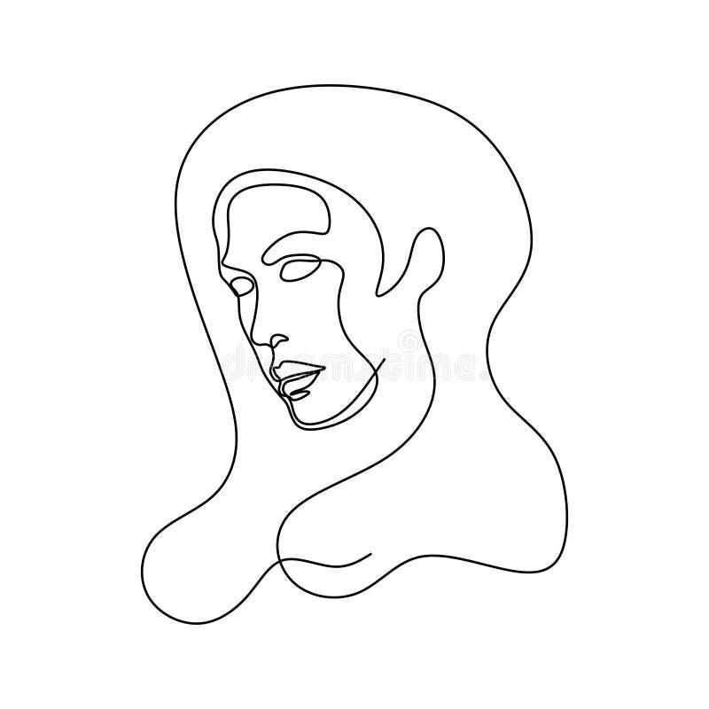 Dibujo lineal de la cara la abstracta Estilo continuo minimalistic del retrato ilustración del vector