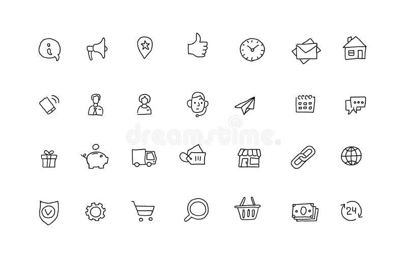 Dibujo lineal de los iconos del esquema determinado popular del bosquejo a mano Línea dibujada mano ejemplo del negro de la colec libre illustration