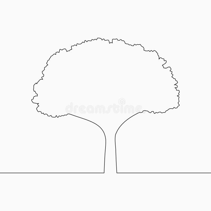 Dibujo lineal del árbol uno Línea continua planta Ejemplo a mano para el logotipo, el emblema y la tarjeta del diseño, cartel, ve ilustración del vector
