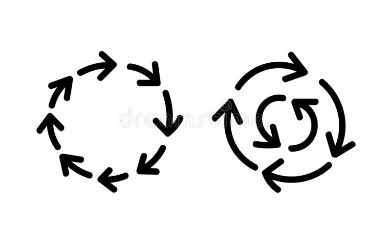 Dibujo lineal del esquema del bosquejo de los iconos de las flechas del movimiento circular a mano Vector drenado mano ilustración del vector
