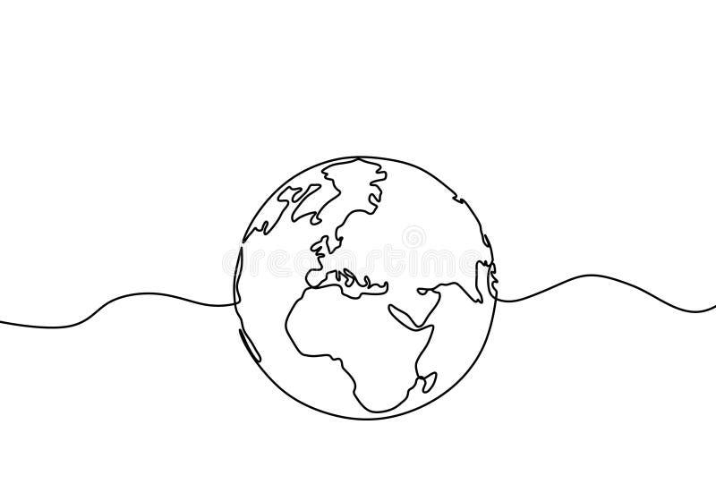 Dibujo lineal del globo uno de la tierra del diseño minimalista del ejemplo del vector del mapa del mundo de minimalismo aislado  libre illustration