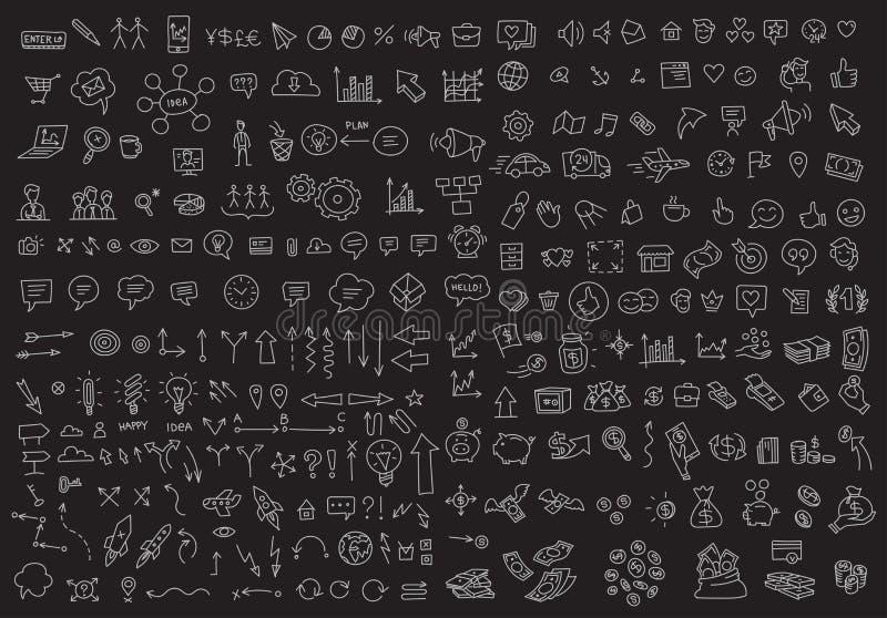 Dibujo lineal del negocio de los iconos del esquema determinado grande del bosquejo a mano Vector dibujado mano de la colecci?n E stock de ilustración