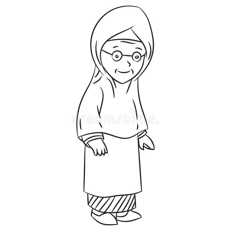 Dibujo lineal del vector malayo del personaje de dibujos animados de la abuela libre illustration
