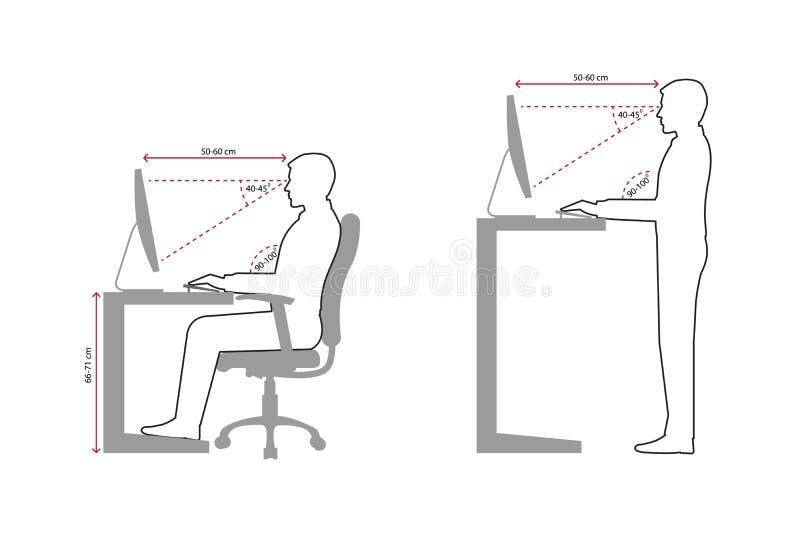 Dibujo lineal ergonómico de una sentada correcta del hombre y de una postura permanente al usar un ordenador stock de ilustración