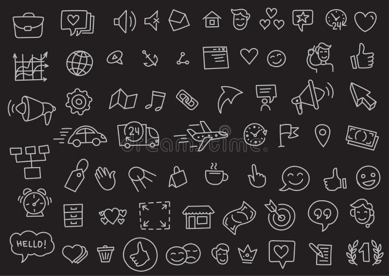Dibujo lineal iconos del negocio del bosquejo de muchos del esquema popular del sistema a mano Vector dibujado mano de la colecci libre illustration