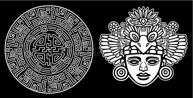 Dibujo linear: imagen decorativa de una deidad india antigua stock de ilustración