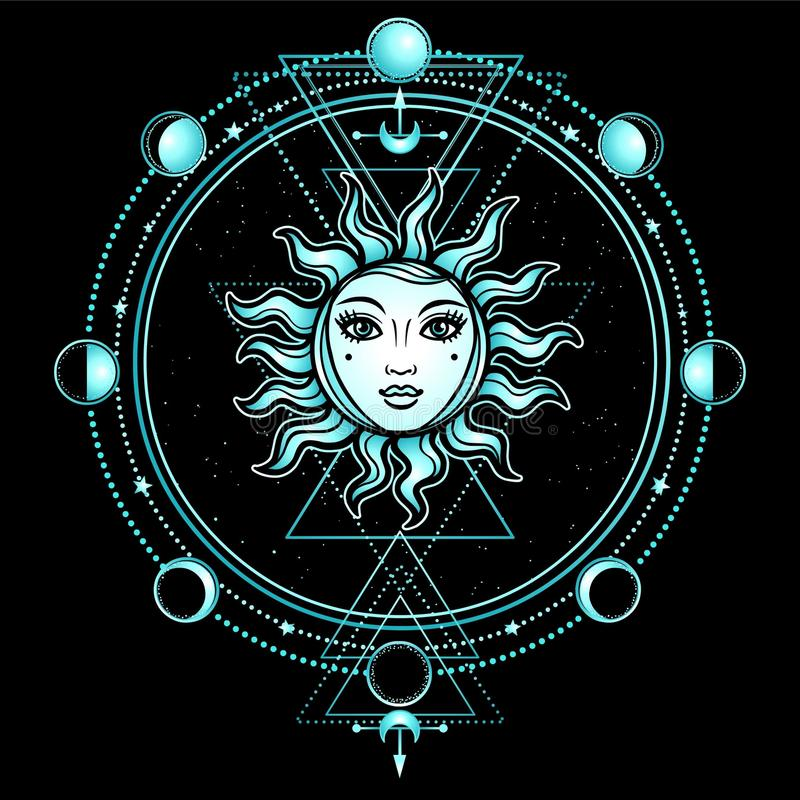 Dibujo místico: el sol con un rostro humano, geometría sagrada, fases de la luna ilustración del vector