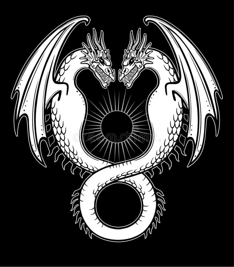 Dibujo místico: un dragón doble, Uroboros, una serpiente con dos cabezas stock de ilustración
