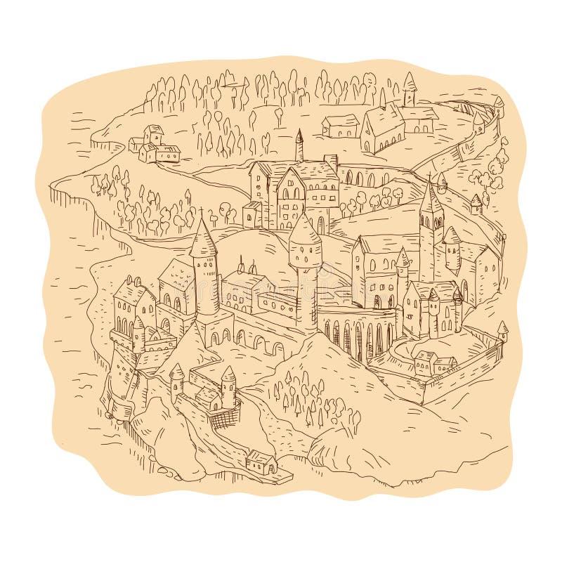 Dibujo medieval del mapa de la fantasía ilustración del vector