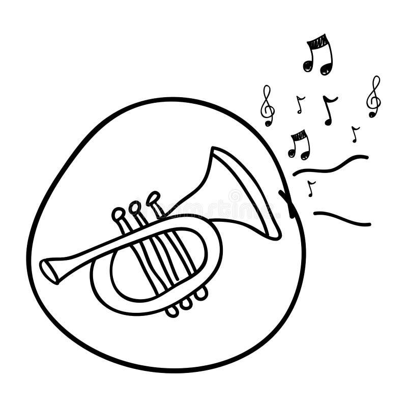 dibujo monocromático de la mano de la trompeta en círculo y notas musicales stock de ilustración