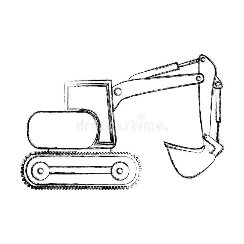 dibujo monocromático de la mano del contorno de la retroexcavadora con la grúa para la construcción stock de ilustración