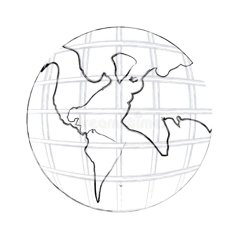 dibujo monocromático de la mano del contorno del mapa del mundo de la tierra con los continentes libre illustration