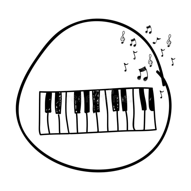 Dibujo Monocromático De La Mano Del Teclado De Piano En