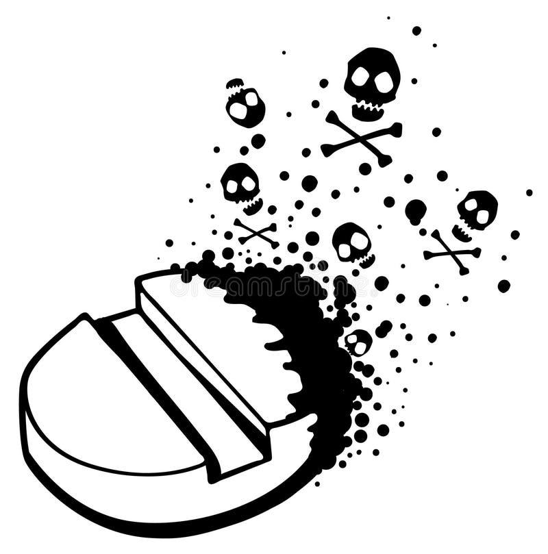 Dibujo mortal de la píldora de la droga ilustración del vector