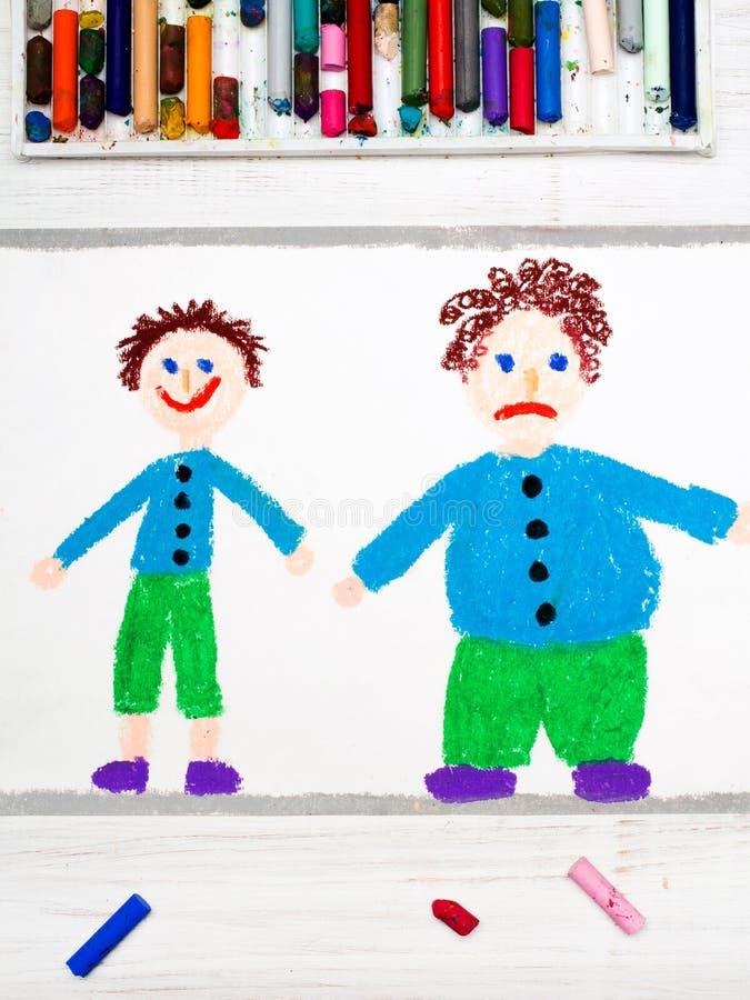Dibujo: Muchacho delgado sonriente y muchacho triste obeso foto de archivo