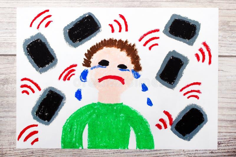 Dibujo: Muchacho gritador rodeado por los teléfonos o las tabletas Peligro de medios sociales ilustración del vector
