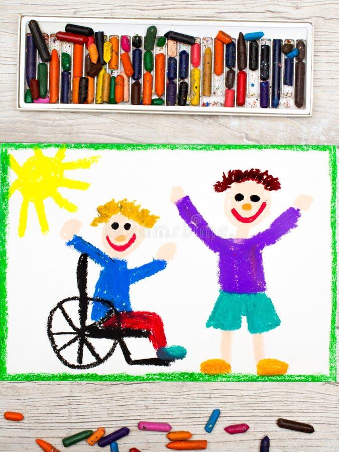 Dibujo: Muchacho sonriente que se sienta en su silla de ruedas Muchacho discapacitado con un amigo foto de archivo libre de regalías
