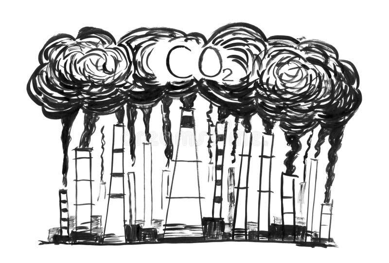 Dibujo negro de chimeneas que fuman, concepto de la mano del Grunge de la tinta contaminación atmosférica del CO2 de la industria imagen de archivo libre de regalías