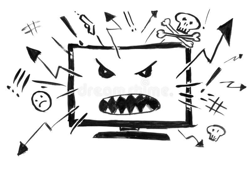 Dibujo negro de la mano del Grunge de la tinta de la televisión o de Internet de la historieta que muestra solamente violencia y  stock de ilustración