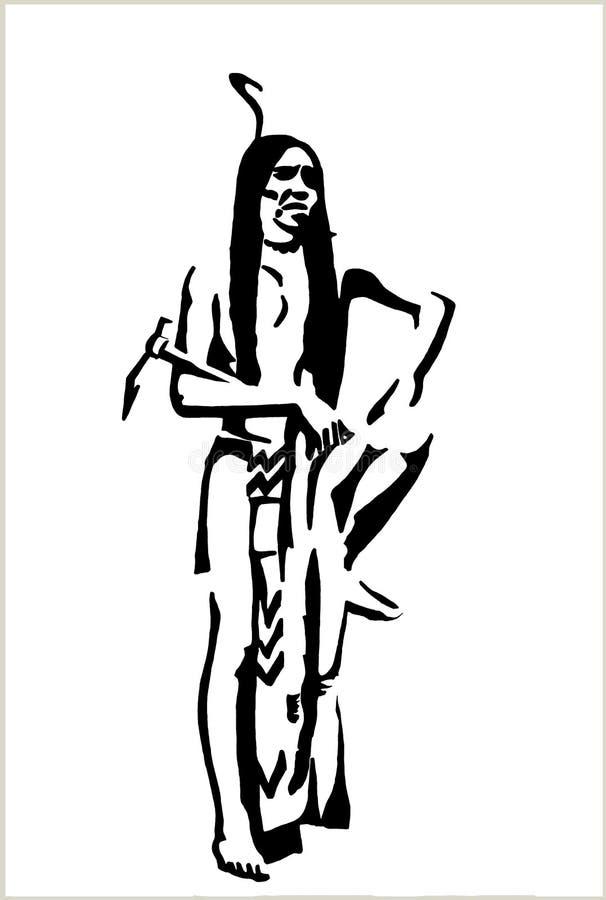 Dibujo negro de la pluma de un nativo americano ilustración del vector