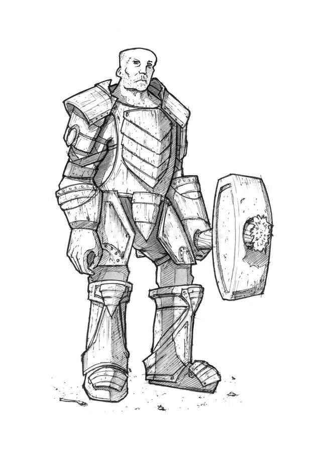 Dibujo negro de la tinta del caballero del guerrero de la fantasía en Armor With Sledgehammer o mazo libre illustration