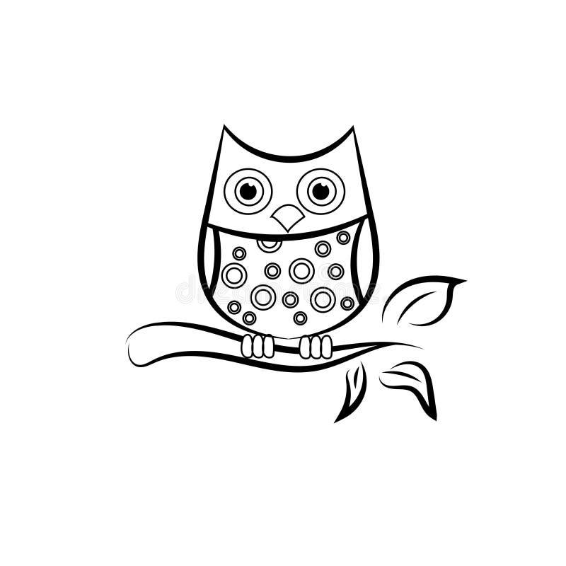 Dibujo negro para los niños - ejemplo común del búho del vector libre illustration