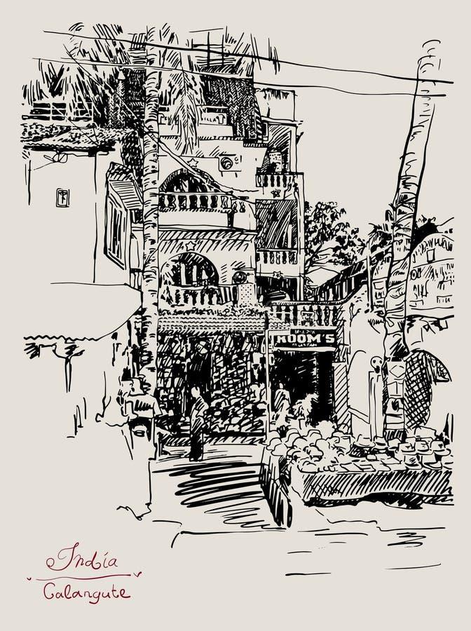 Dibujo original de la India Goa Calangute Baga libre illustration