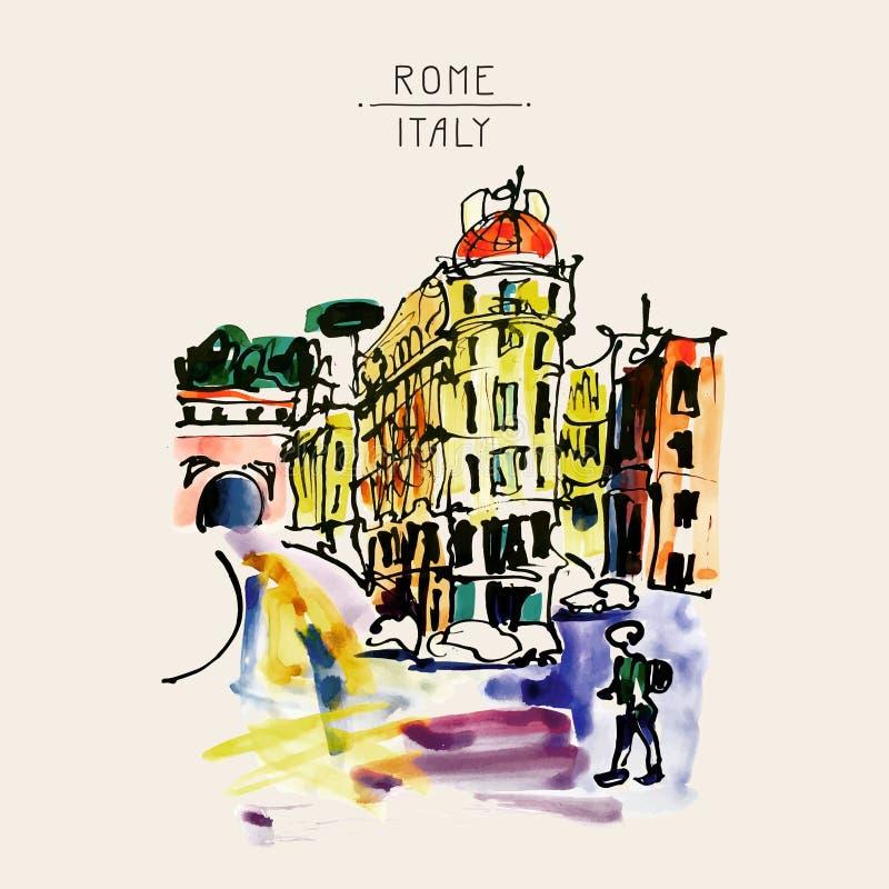 Dibujo original de la mano del bosquejo de la acuarela de Roma Italia CIT famoso libre illustration