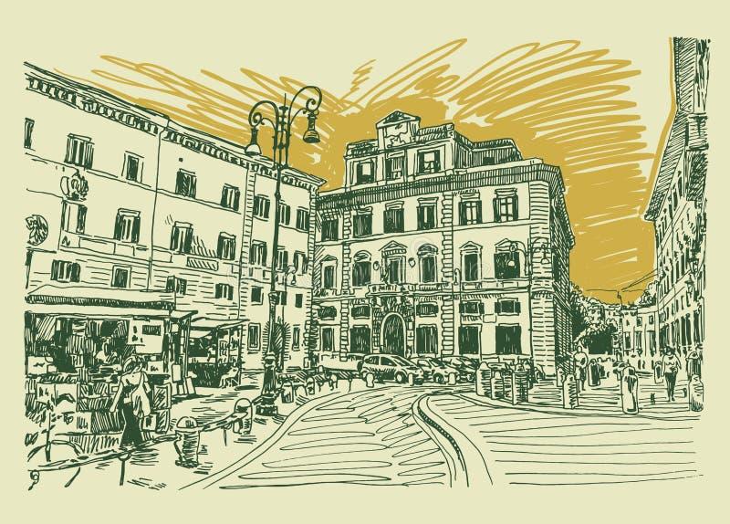 Dibujo original de la mano del bosquejo del paisaje urbano famoso de Roma Italia ilustración del vector