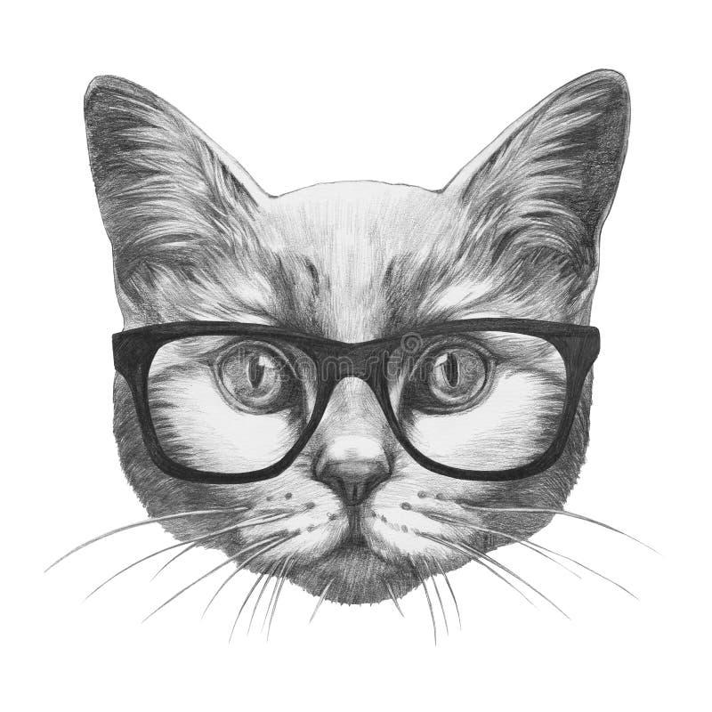 Dibujo original del gato con los vidrios ilustración del vector