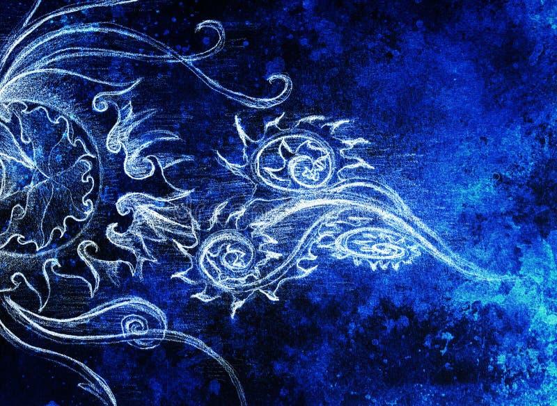 Dibujo ornamental del filigran en el papel con espirales, pétalos de la flor ilustración del vector