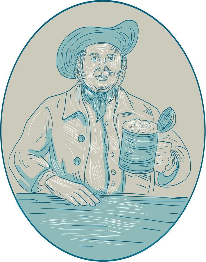 Dibujo oval de la jarra de cerveza del bebedor de cerveza del caballero libre illustration