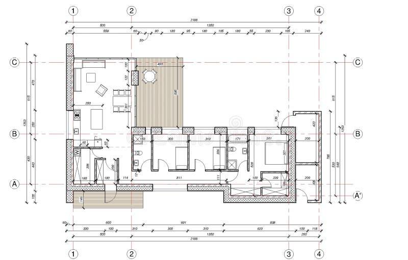 Dibujo - plan de piso de la casa unifamiliar ilustración del vector