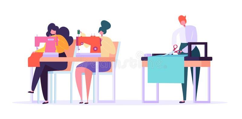 Dibujo plano de costura del vector del carácter de la ropa Costurera Woman Working con la máquina del hilo y el paño que plancha stock de ilustración