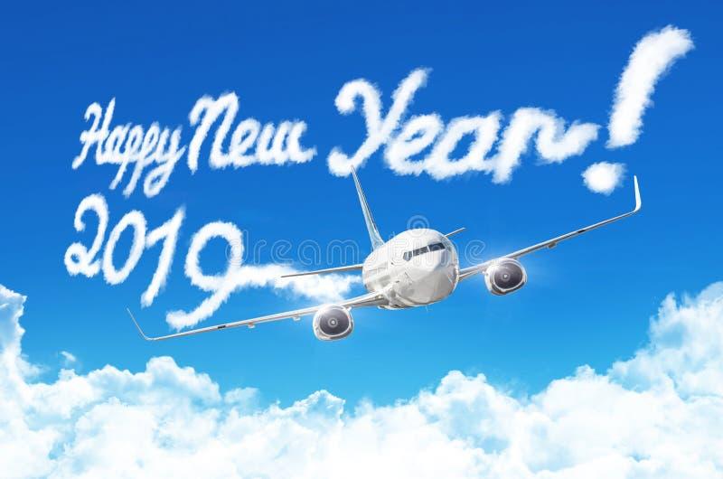 Dibujo por la estela de vapor del vapor del vapor del aeroplano en cielo azul Concepto de la Feliz Año Nuevo ilustración del vector