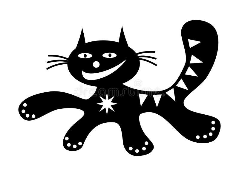 Dibujo positivo feliz de funcionamiento del gato de la historieta divertida del gato en blanco y negro stock de ilustración