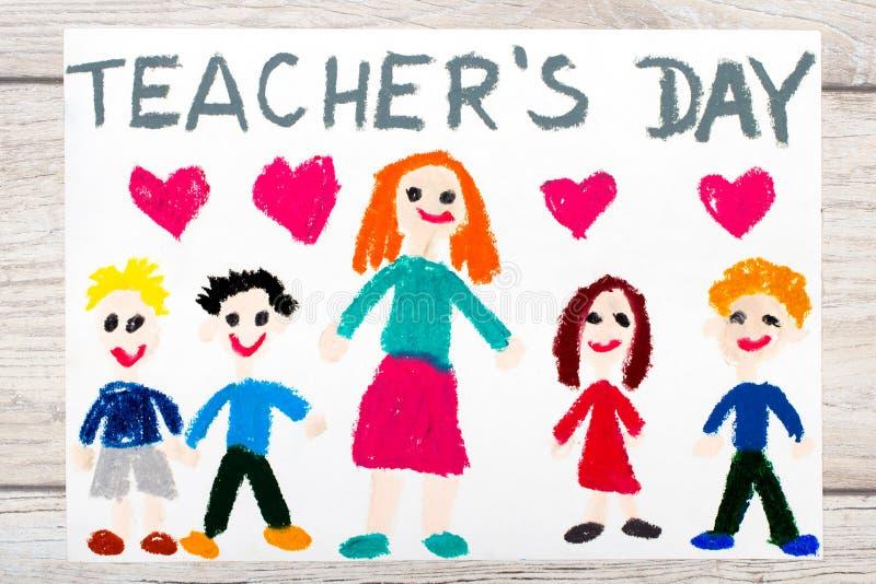 Dibujo: PROFESORES DÍA, profesor y niños felices de las palabras libre illustration