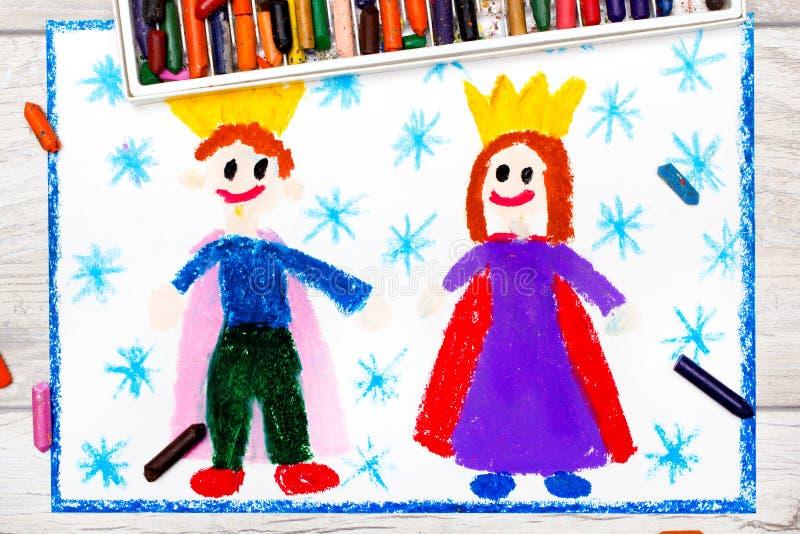 Dibujo: rey y reina sonrientes con sus coronas stock de ilustración