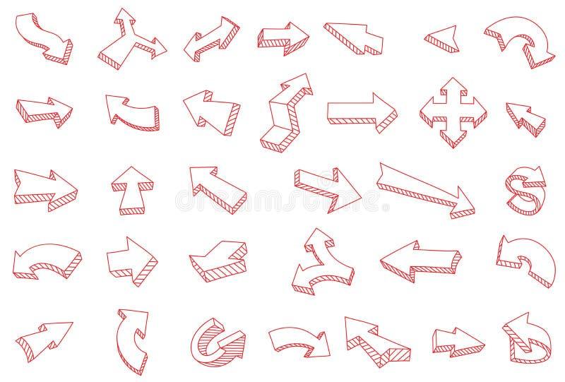Dibujo rojo definido con flecha Kit de recogida de flechas Trazado de línea de tracción manual Contorno de contorno del vector stock de ilustración