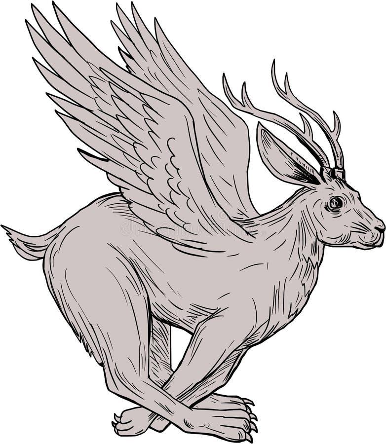 Dibujo 'running side' de Wolpertinger stock de ilustración