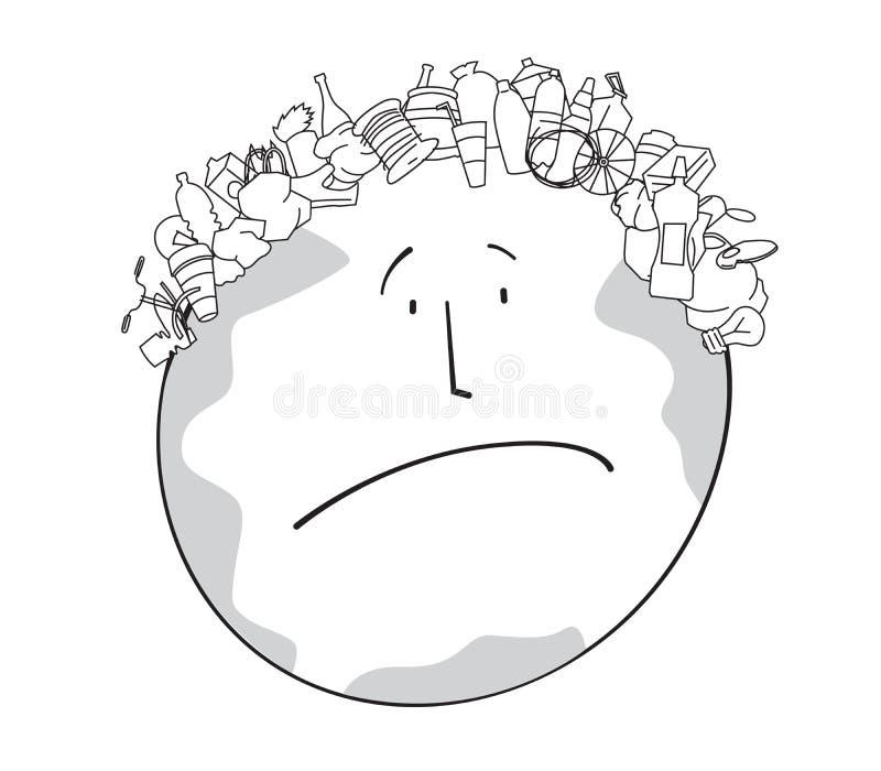 Dibujo satírico linear de una tierra triste del planeta con un corte de pelo bajo la forma de basura libre illustration