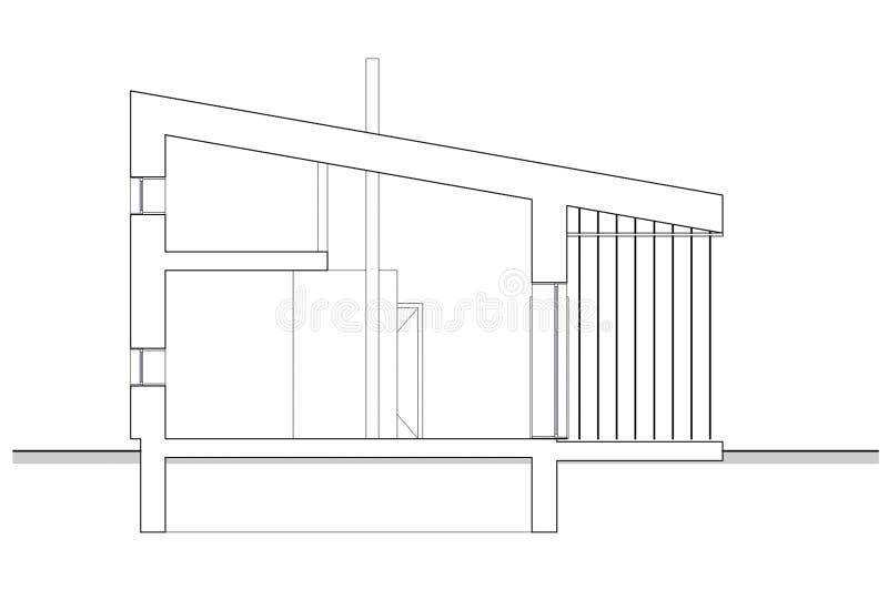 Dibujo - sección aislada de la casa de planta baja con el entresuelo stock de ilustración