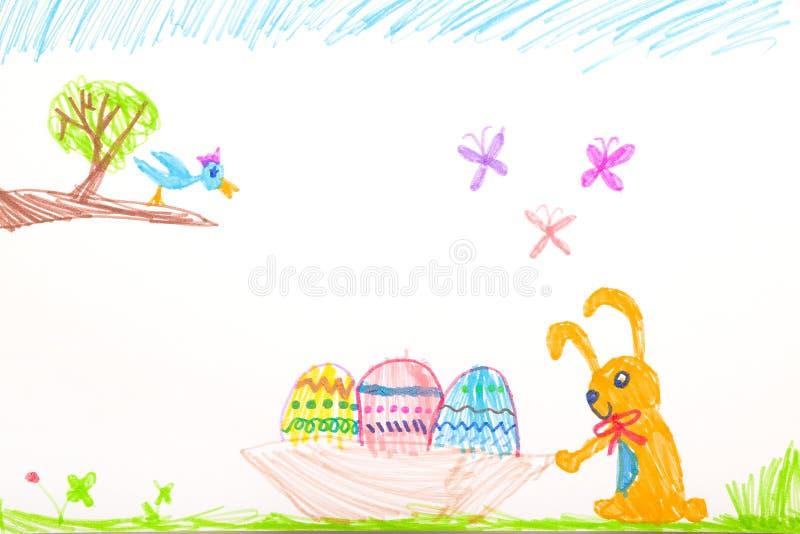 Dibujo sentido de la pluma del niño - Pascua feliz fotografía de archivo