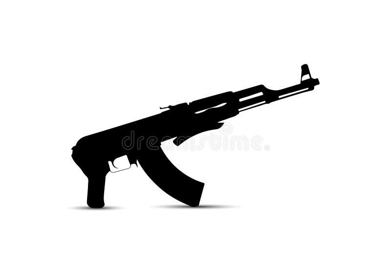 Dibujo simple de la silueta de armas automáticas, automático ilustración del vector