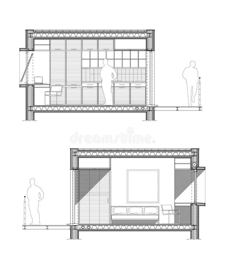 Dibujo técnico de una sección de un cuarto de estudiante stock de ilustración